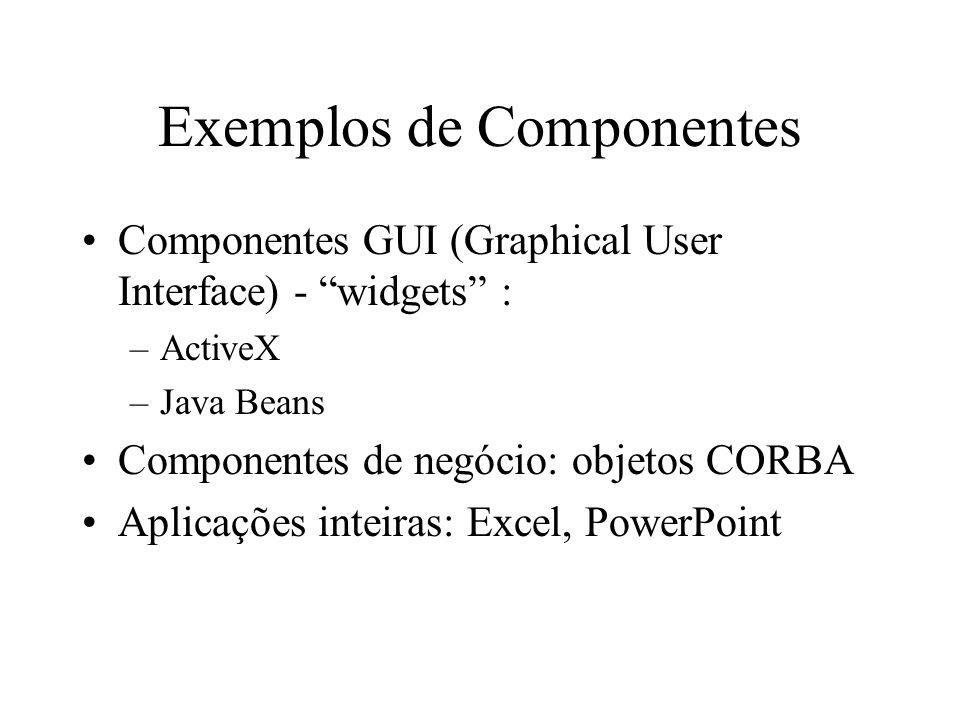 Exemplos de Componentes Componentes GUI (Graphical User Interface) - widgets : –ActiveX –Java Beans Componentes de negócio: objetos CORBA Aplicações i