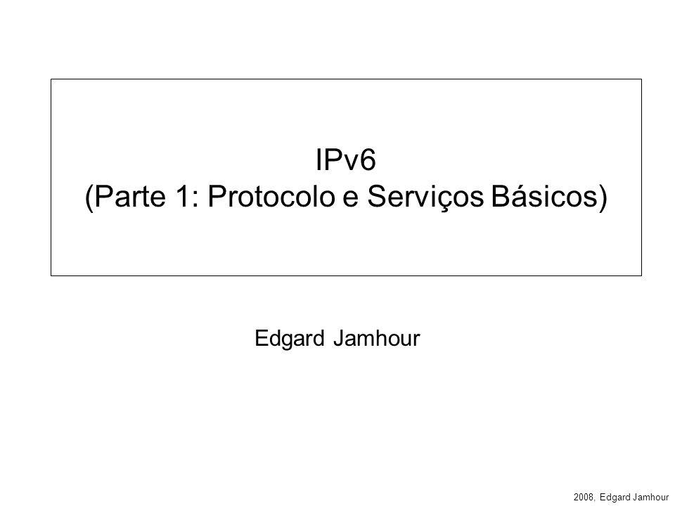 2008, Edgard Jamhour Descoberta de Roteador e Prefixo Os roteadores enviam mensagens periodicamente mensagens ICMP denominadas Router Advertisements (configurado no roteador) Essas mensagens permitem: –Descoberta de Prefixo Permite ao host determinar qual o intervalo de endereços IP dos hosts da mesma LAN que ele.