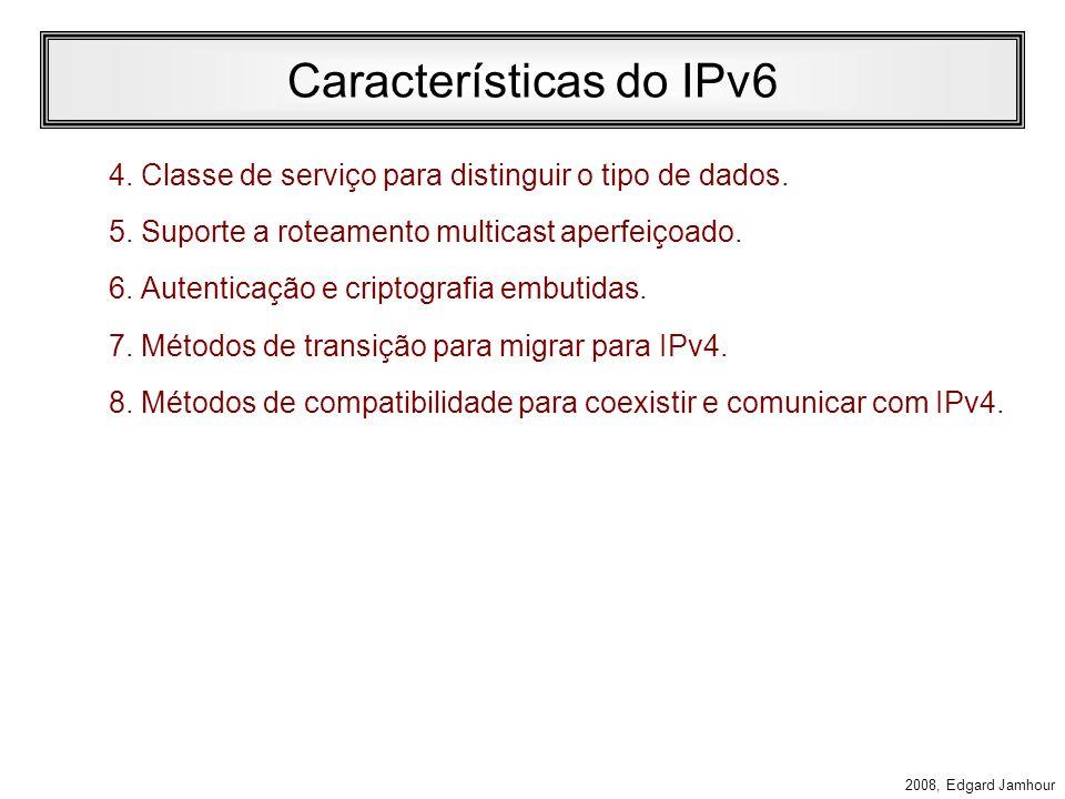 2008, Edgard Jamhour IPv6 IPv6: Internet Protocolo, versão 6. –Também denominado IPng (ng: next generation) Características: 1.Endereçamento hierárqui