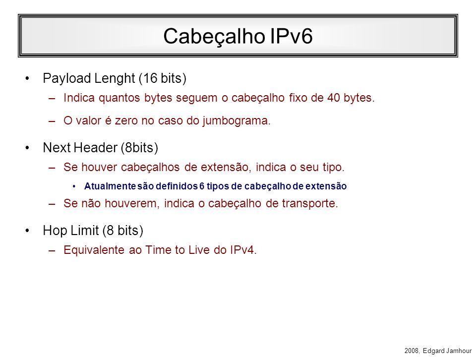 2008, Edgard Jamhour Controle de Fluxo Flow Label (20 bits) –Permite identificar 1 milhão de conexões entre 2 pares de IP. –Permite controlar a banda
