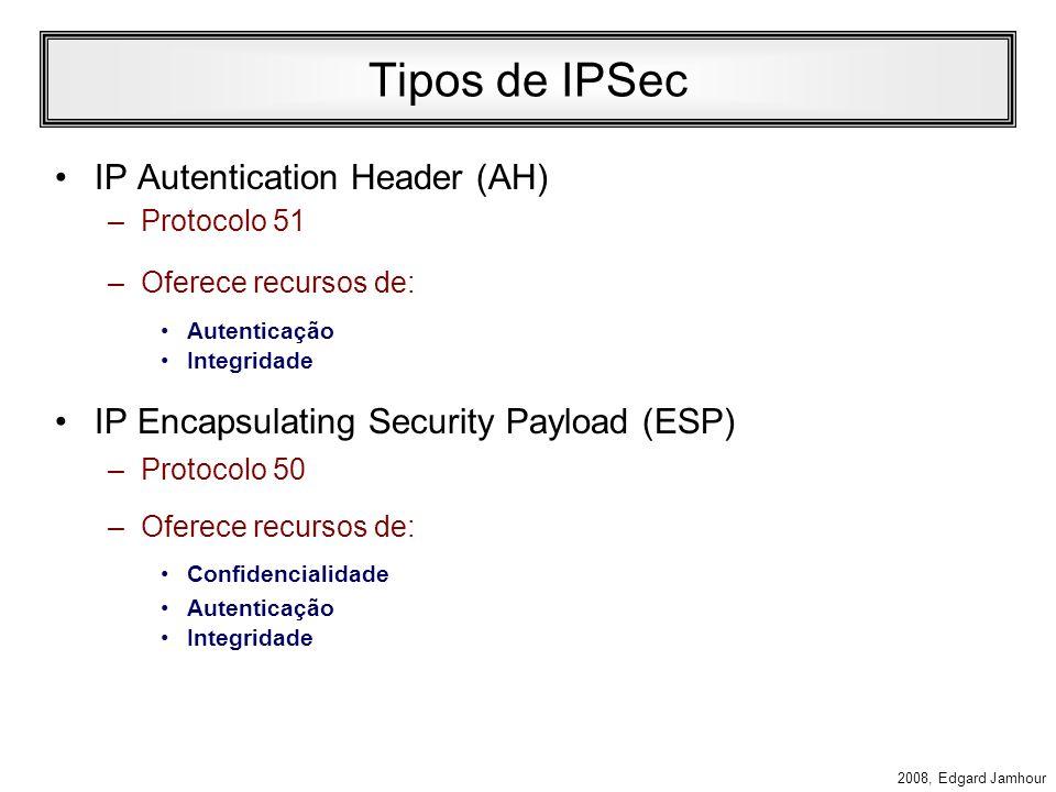 2008, Edgard Jamhour Autenticação e Criptografia A especificação do IPv6 determina que as extensões de segurança IPsec são mandatórias. Essas extensõe