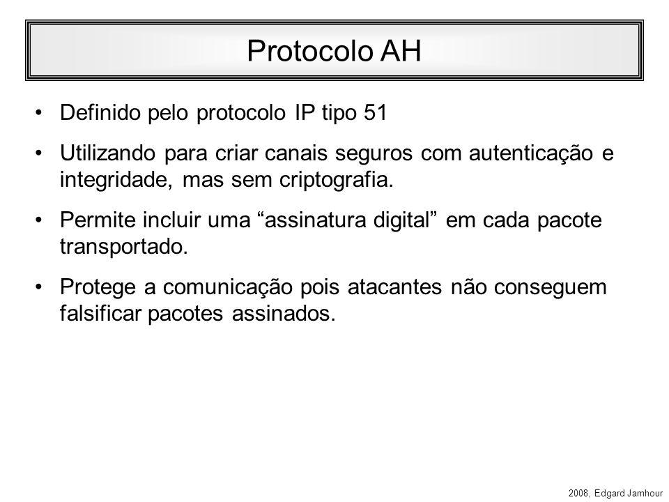 2008, Edgard Jamhour Tipos de IPSec IP Autentication Header (AH) –Protocolo 51 –Oferece recursos de: Autenticação Integridade IP Encapsulating Securit