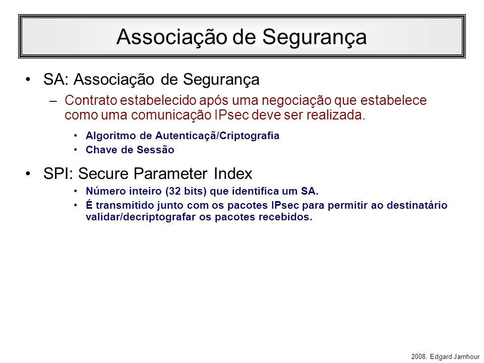 2008, Edgard Jamhour Security Association Uma vez definida uma política comum a ambos os computadores, uma associação de segurança (SA) é criada para