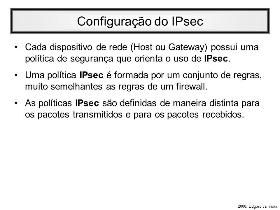 2008, Edgard Jamhour ESP Modo Tunel e Transporte SA INTERNE T SA INTERNET SA Conexão IPsec em modo Túnel IPsec ESP Conexão IPsec em modo Transporte IP