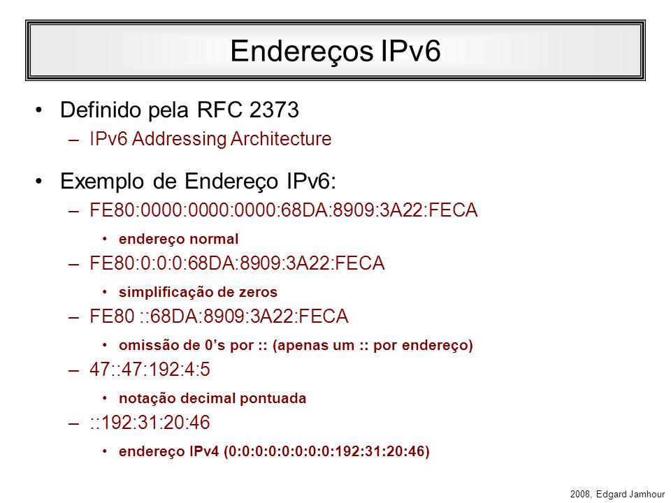 2008, Edgard Jamhour Estrutura Geral do IPsec Enlace IP/IPsec(AH,ESP) Transporte (TCP/UDP) Sockets Protocolo Aplicação Aplicação IKE Base de SAs Base