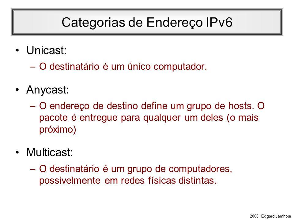 2008, Edgard Jamhour Endereços IPv6 Definido pela RFC 2373 –IPv6 Addressing Architecture Exemplo de Endereço IPv6: –FE80:0000:0000:0000:68DA:8909:3A22
