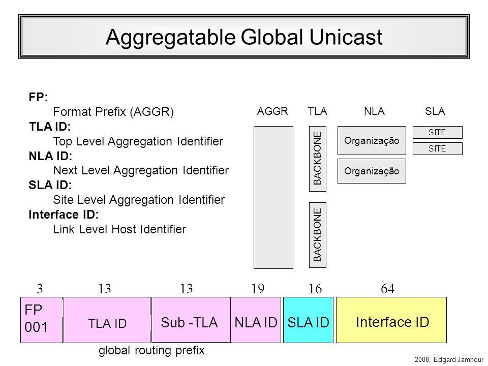 2008, Edgard Jamhour Aggregatable Global Unicast Especificado pela RFC 2374 Endereçamento com três níveis hierárquicos Topologia PúblicaTopologia Site