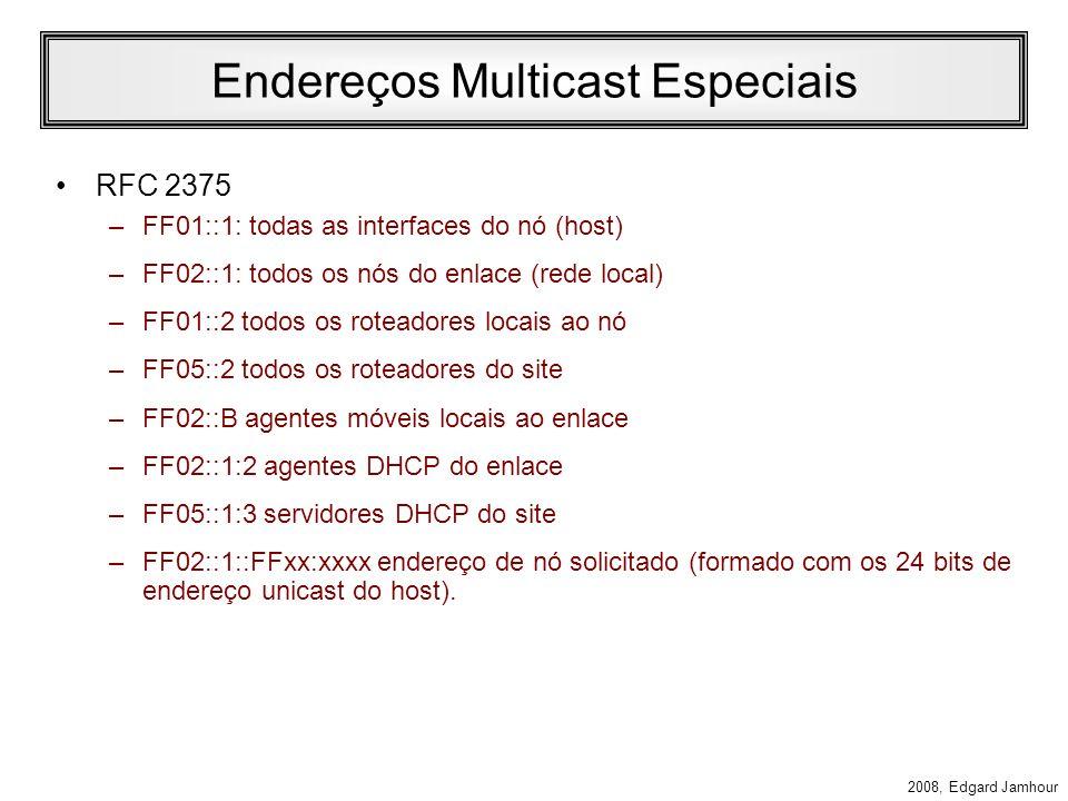 2008, Edgard Jamhour Endereços de Multicast IPv6 O formato de endereços Multicast IPv6: –PF: valor fixo (FF) –Flags: 0000 endereço de grupo dinâmico 1