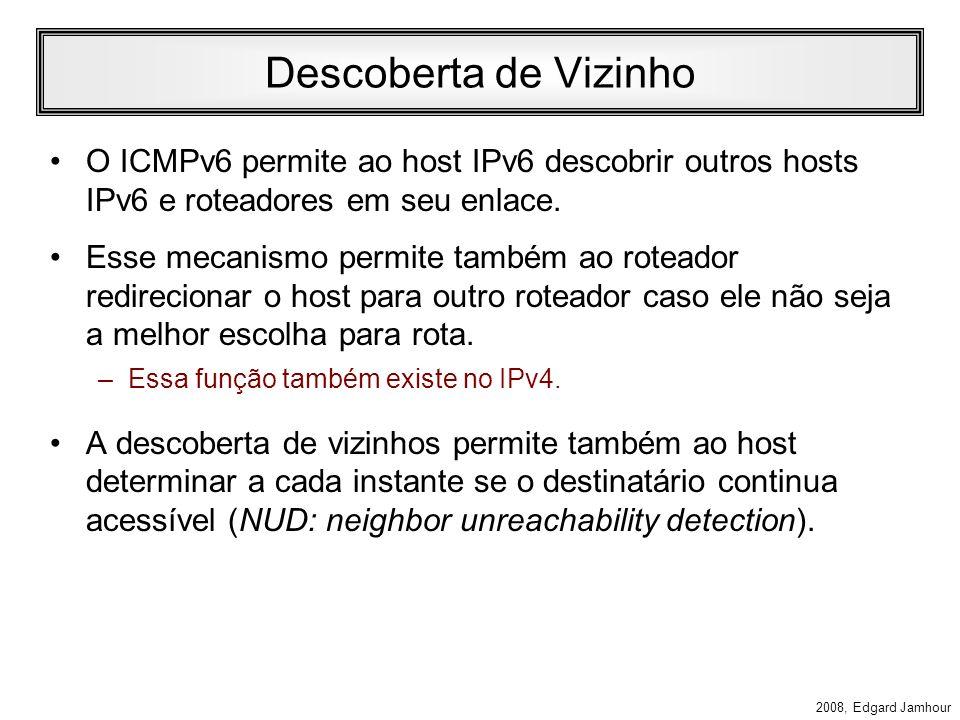 2008, Edgard Jamhour Mensagens ICMP Identificadas como Next Header = 58 –Tipo: 0 a 127: erro –Destino inalcançável, pacote muito grande, TTL excedido,