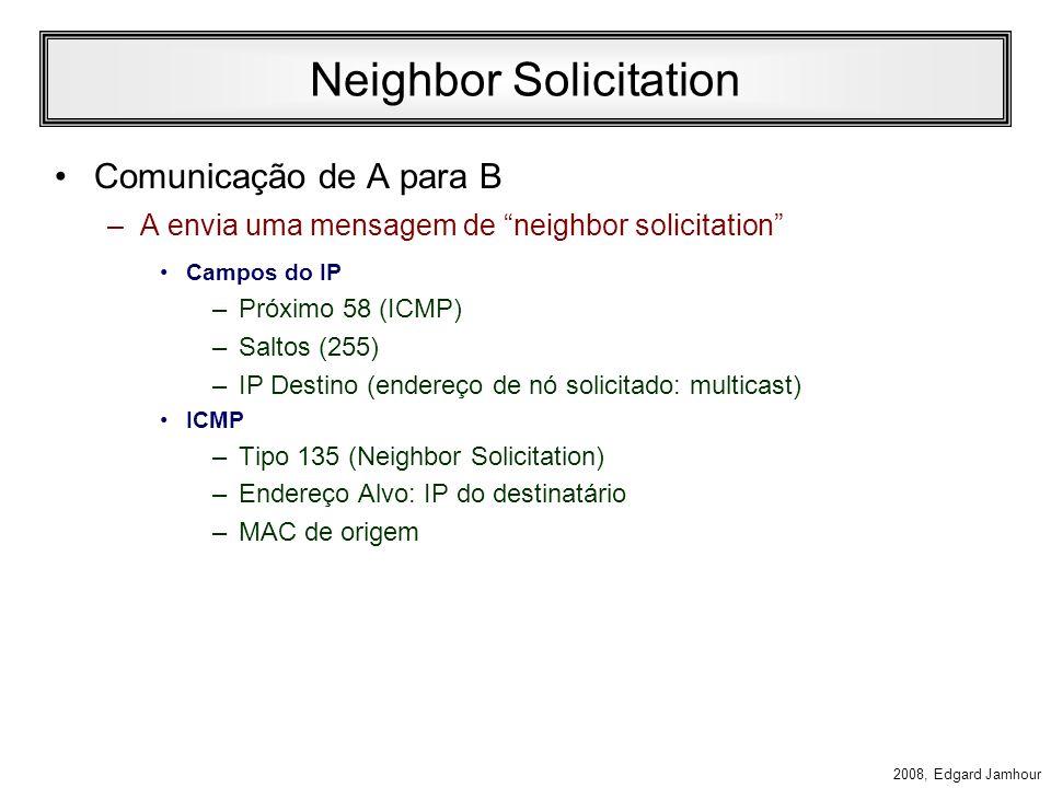 2008, Edgard Jamhour Resolução de Endereços Host A IP FE80::0800:5A12:3456 MAC 08005A123456 Host B IP FE80::0800:5A12:3458 MAC 08005A123458 Host C IP