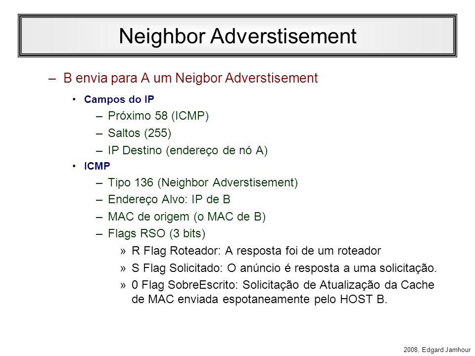 2008, Edgard Jamhour Neighbor Solicitation Comunicação de A para B –A envia uma mensagem de neighbor solicitation Campos do IP –Próximo 58 (ICMP) –Sal