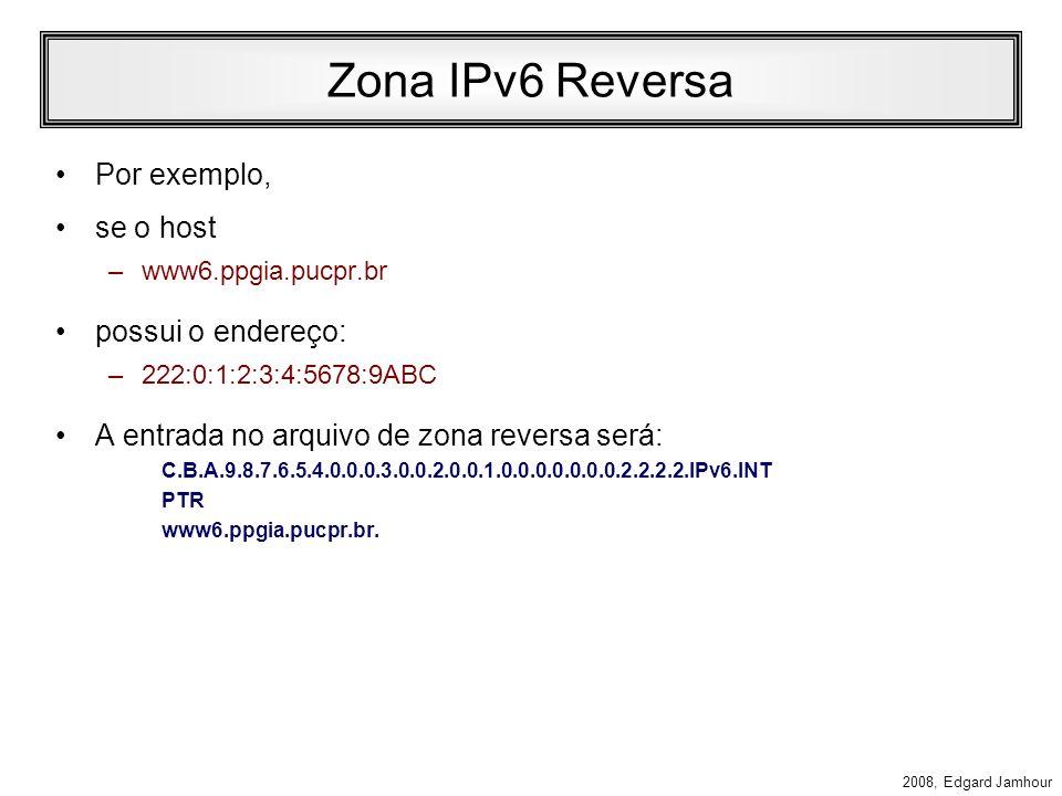 2008, Edgard Jamhour DNS no IPv6 Foram definidas extensões no DNS para suportar IPv6 (RFC 1886). As extensões definem: –Um registro AAAA para mapear h