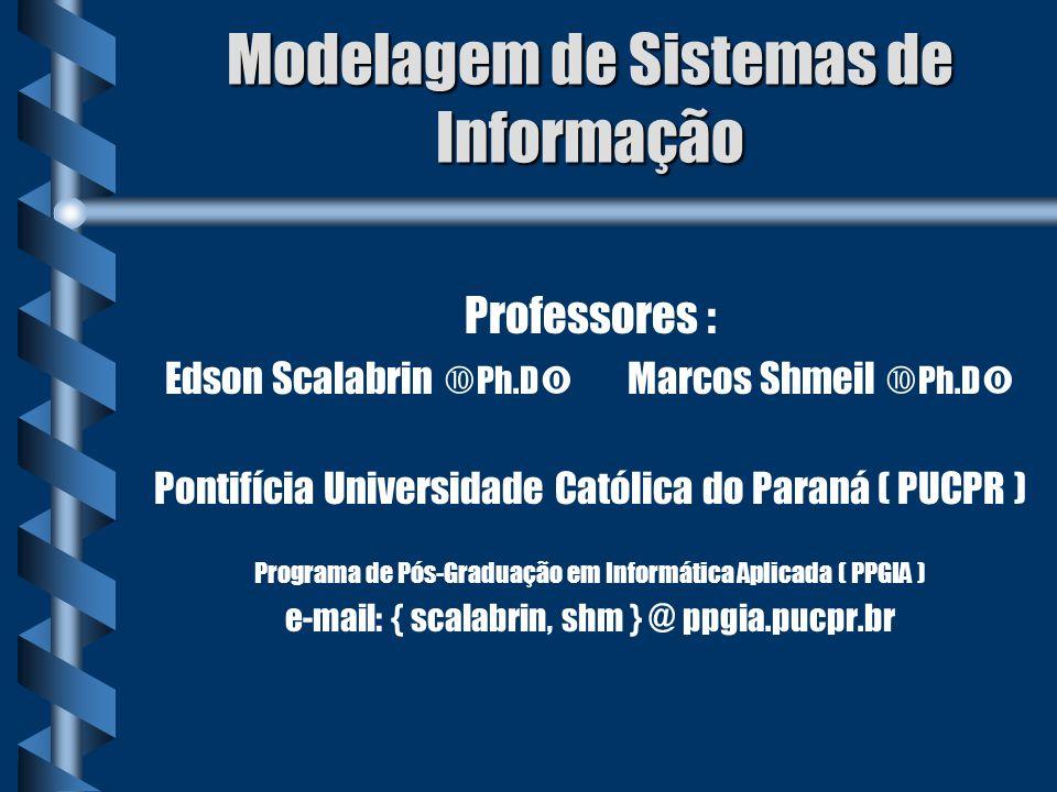 Modelagem de Sistemas de Informação Professores : Edson Scalabrin Ph.D Marcos Shmeil Ph.D Pontifícia Universidade Católica do Paraná ( PUCPR ) Program