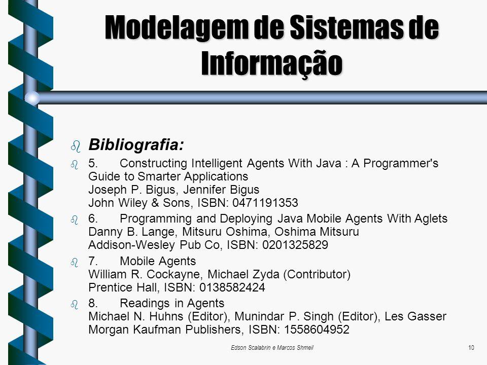 Edson Scalabrin e Marcos Shmeil10 Modelagem de Sistemas de Informação Bibliografia: 5. Constructing Intelligent Agents With Java : A Programmer's Guid