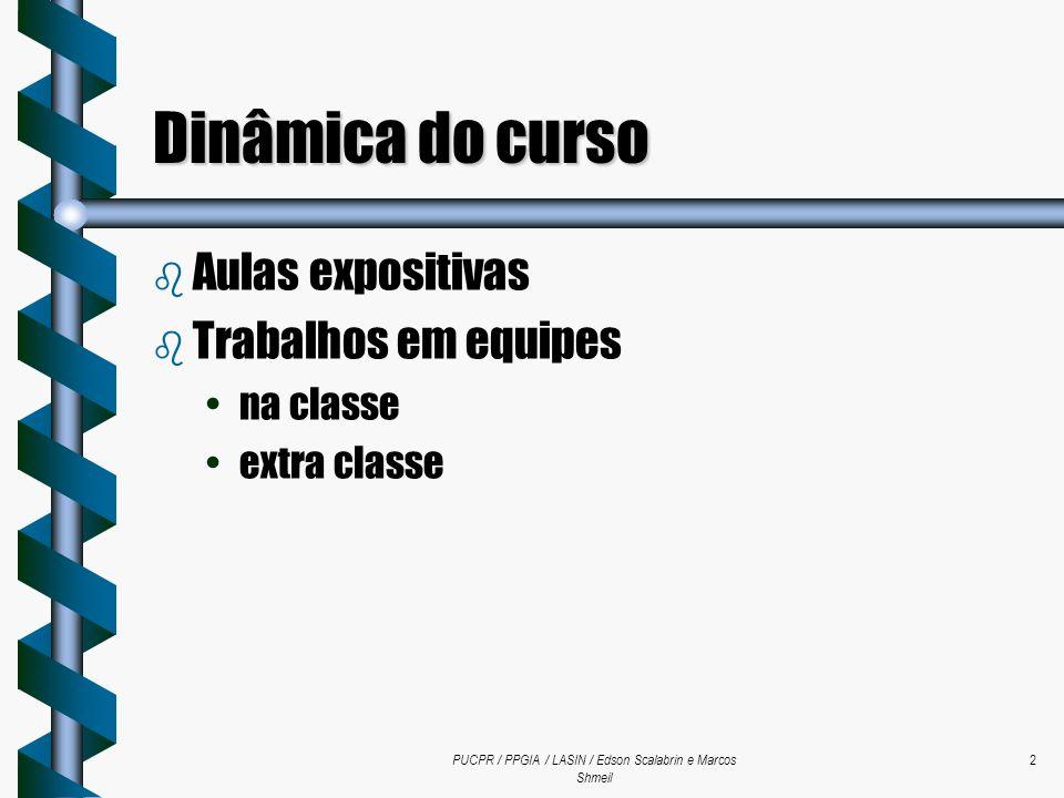 PUCPR / PPGIA / LASIN / Edson Scalabrin e Marcos Shmeil 2 Dinâmica do curso b Aulas expositivas b Trabalhos em equipes na classe extra classe