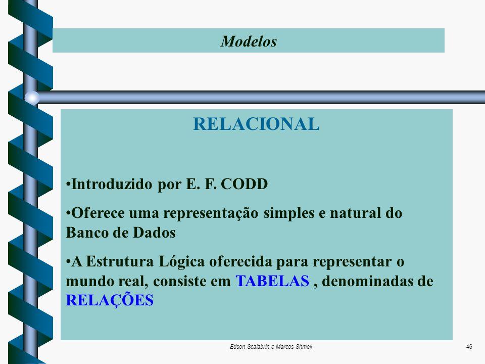 Edson Scalabrin e Marcos Shmeil46 RELACIONAL Introduzido por E. F. CODD Oferece uma representação simples e natural do Banco de Dados A Estrutura Lógi
