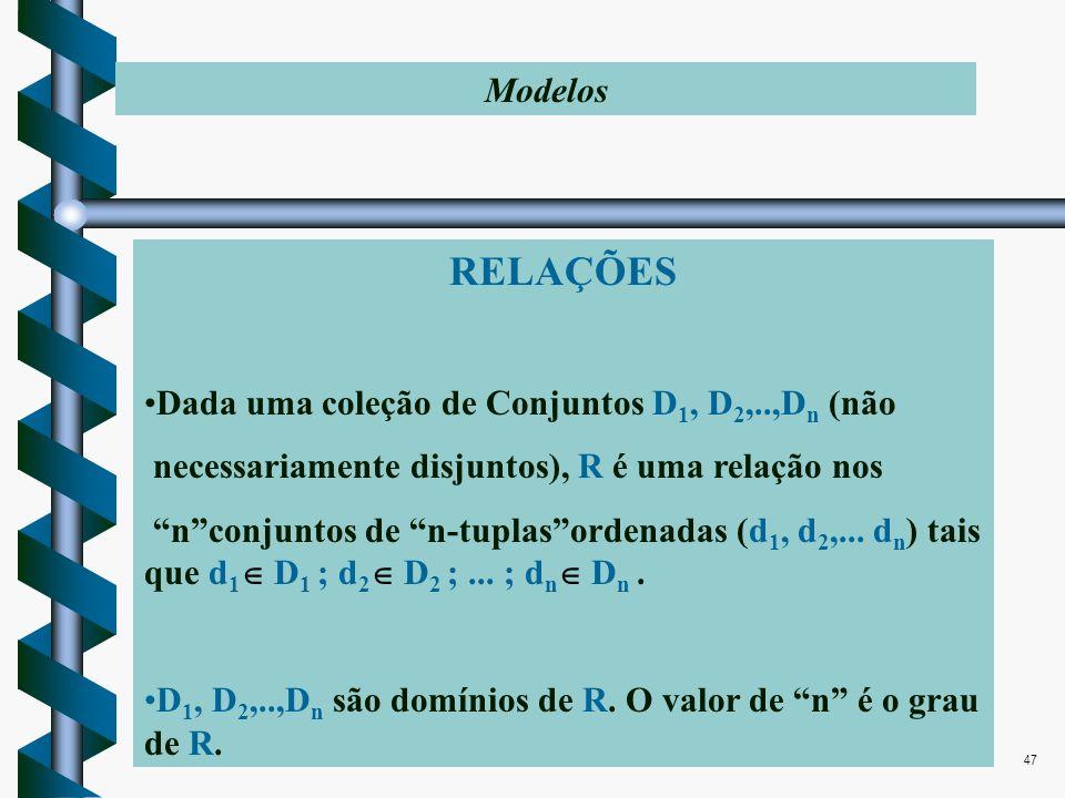 Edson Scalabrin e Marcos Shmeil47 RELAÇÕES Dada uma coleção de Conjuntos D 1, D 2,..,D n (não necessariamente disjuntos), R é uma relação nos nconjunt