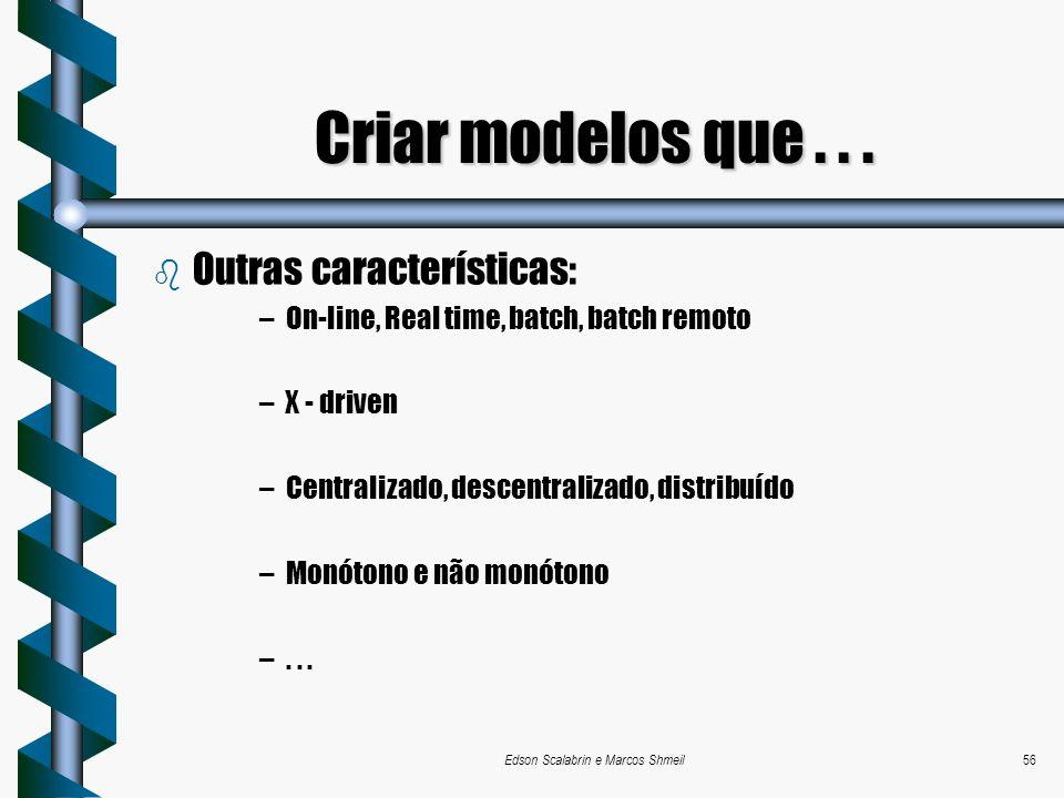 Edson Scalabrin e Marcos Shmeil56 b Outras características: –On-line, Real time, batch, batch remoto –X - driven –Centralizado, descentralizado, distr