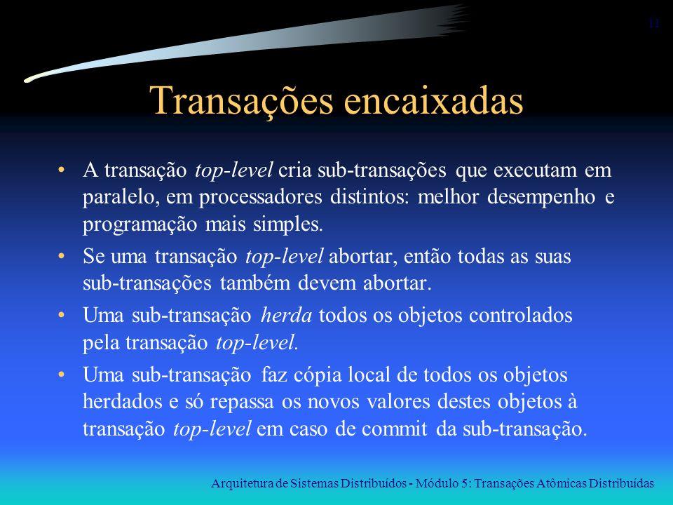 Arquitetura de Sistemas Distribuídos - Módulo 5: Transações Atômicas Distribuídas 11 Transações encaixadas A transação top-level cria sub-transações q