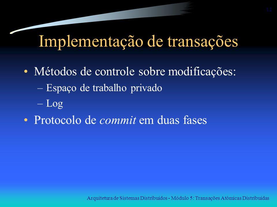 Arquitetura de Sistemas Distribuídos - Módulo 5: Transações Atômicas Distribuídas 12 Implementação de transações Métodos de controle sobre modificaçõe