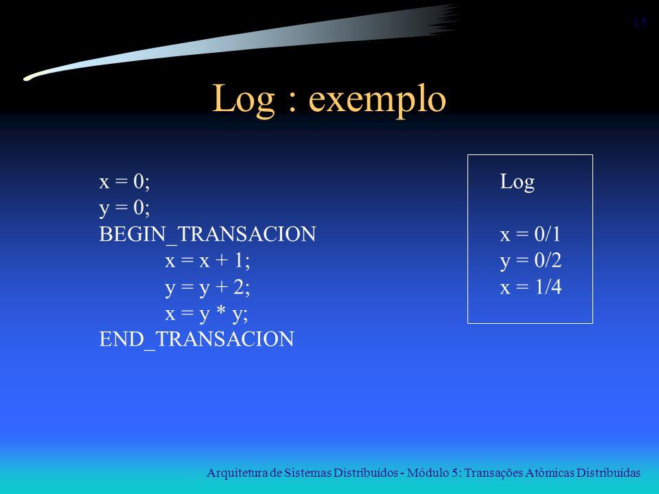 Arquitetura de Sistemas Distribuídos - Módulo 5: Transações Atômicas Distribuídas 15 Log : exemplo x = 0; y = 0; BEGIN_TRANSACION x = x + 1; y = y + 2