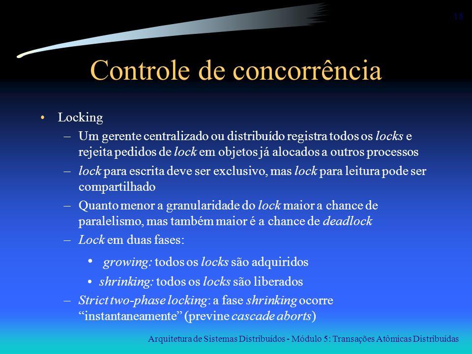 Arquitetura de Sistemas Distribuídos - Módulo 5: Transações Atômicas Distribuídas 18 Controle de concorrência Locking –Um gerente centralizado ou dist