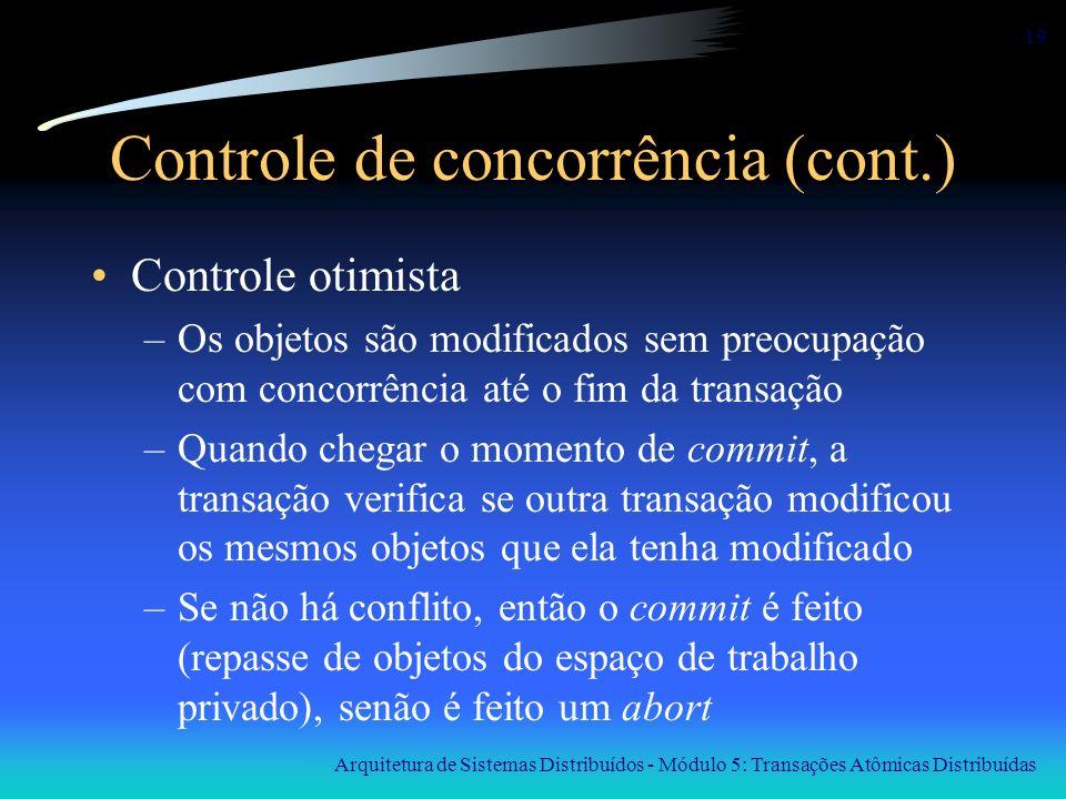 Arquitetura de Sistemas Distribuídos - Módulo 5: Transações Atômicas Distribuídas 19 Controle de concorrência (cont.) Controle otimista –Os objetos sã