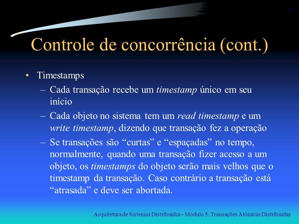 Arquitetura de Sistemas Distribuídos - Módulo 5: Transações Atômicas Distribuídas 20 Controle de concorrência (cont.) Timestamps –Cada transação receb