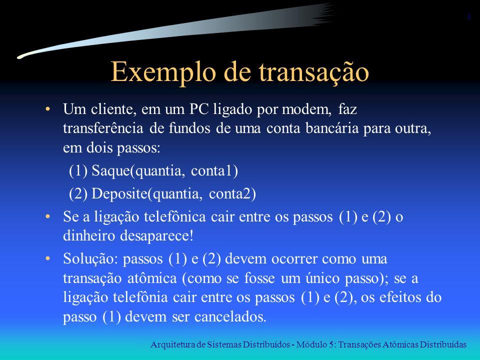 Arquitetura de Sistemas Distribuídos - Módulo 5: Transações Atômicas Distribuídas 15 Log : exemplo x = 0; y = 0; BEGIN_TRANSACION x = x + 1; y = y + 2; x = y * y; END_TRANSACION Log x = 0/1 y = 0/2 x = 1/4