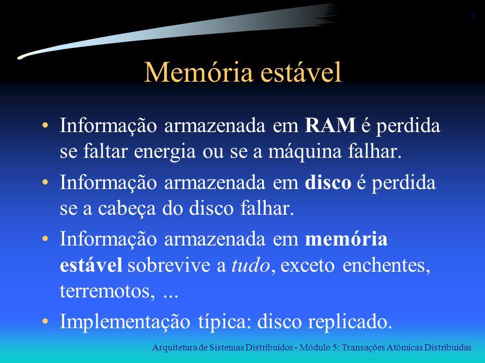 Arquitetura de Sistemas Distribuídos - Módulo 5: Transações Atômicas Distribuídas 6 Primitivas de transação BEGIN_TRANSACTION: marca o início da transação END_TRANSACTION: termina a transação e tenta fazer o commit ABORT_TRANSACTION: destrói a transação; restaura os valores anteriores (do início da transação) READ: lê dados de um objeto (por exemplo, um arquivo) WRITE: escreve dados em um objeto