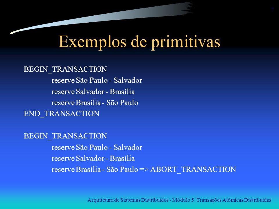 Arquitetura de Sistemas Distribuídos - Módulo 5: Transações Atômicas Distribuídas 7 Exemplos de primitivas BEGIN_TRANSACTION reserve São Paulo - Salva