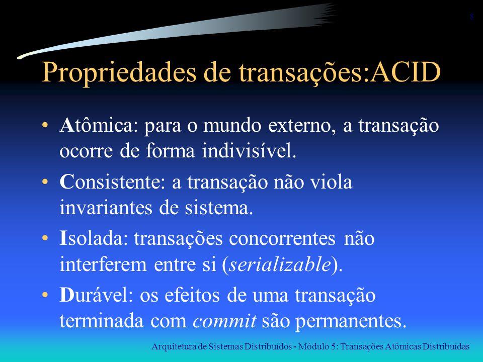 Arquitetura de Sistemas Distribuídos - Módulo 5: Transações Atômicas Distribuídas 9 Isolamento ou serializabilidade BEGIN_TRANSACTION x = 0; x = x + 1; END_TRANSACTION BEGIN_TRANSACTION x = 0; x = x + 2; END_TRANSACTION BEGIN_TRANSACTION x = 0; x = x + 3; END_TRANSACTION