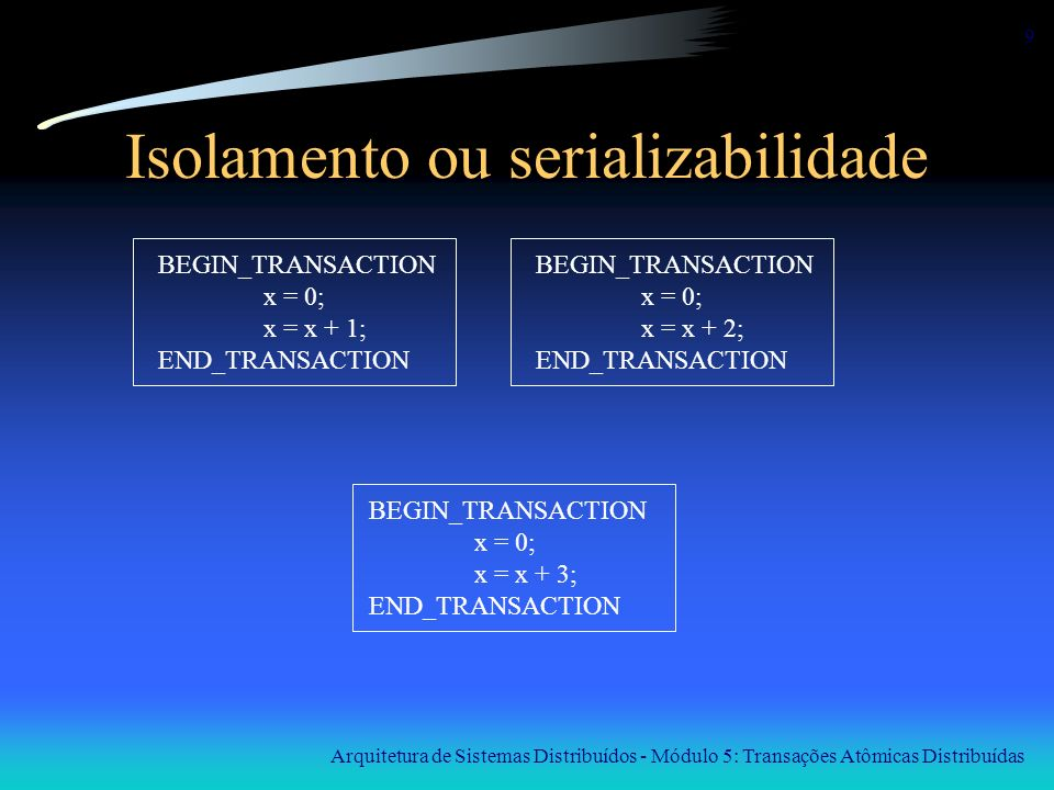 Arquitetura de Sistemas Distribuídos - Módulo 5: Transações Atômicas Distribuídas 9 Isolamento ou serializabilidade BEGIN_TRANSACTION x = 0; x = x + 1