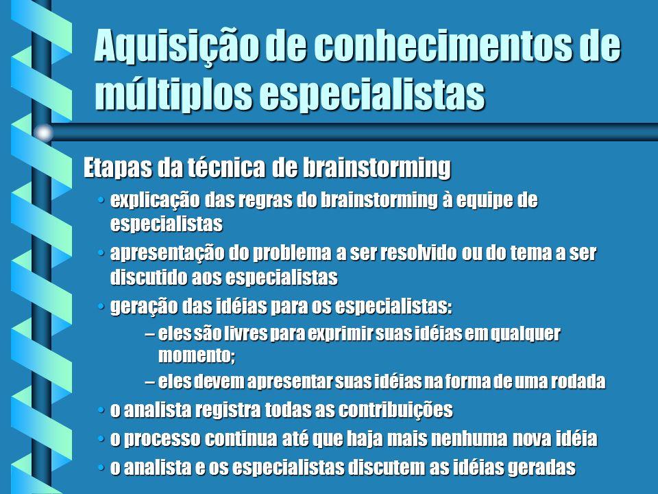 Aquisição de conhecimentos de múltiplos especialistas b Técnicas de coleta de expertise para vários especialistas: brainstormingbrainstorming tomada d