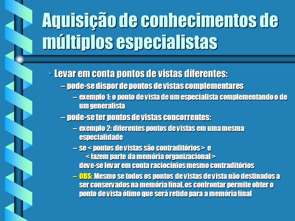 Aquisição de conhecimentos de múltiplos especialistas Razões para ter-se diferentes especialistas de um mesmo domínio de competência: Resolver problem