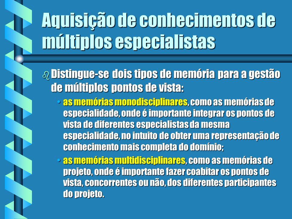 Aquisição de conhecimentos de múltiplos especialistas Obter uma expertise mais completa e mais correta / validadaObter uma expertise mais completa e m