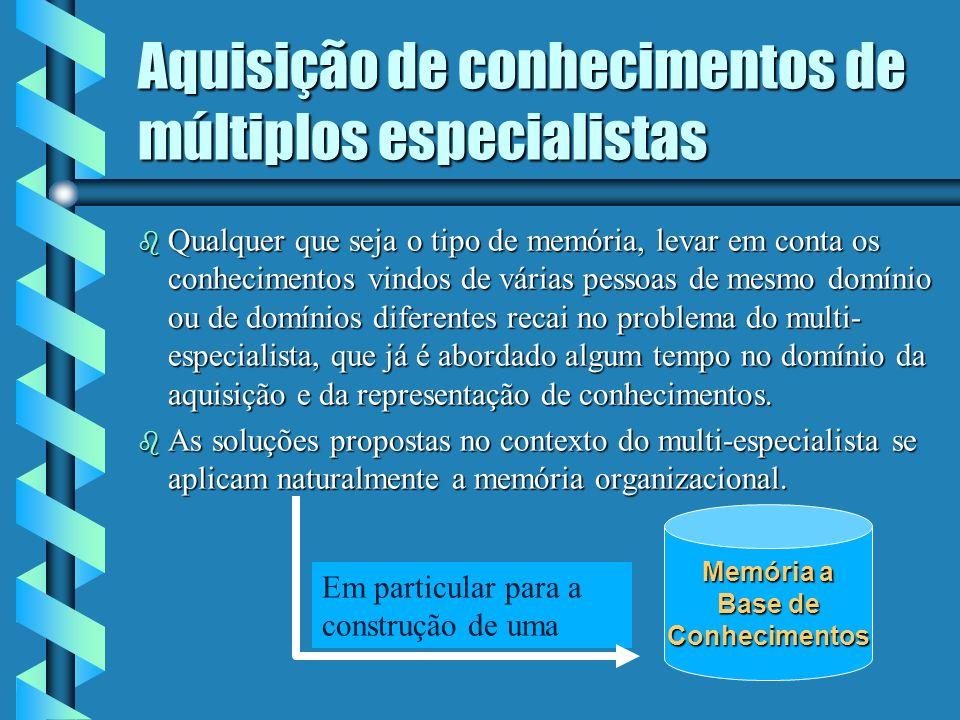 Aquisição de conhecimentos de múltiplos especialistas b Distingue-se dois tipos de memória para a gestão de múltiplos pontos de vista: as memórias mon