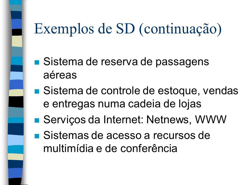 Exemplos de SD (continuação) n Sistema de reserva de passagens aéreas n Sistema de controle de estoque, vendas e entregas numa cadeia de lojas n Servi