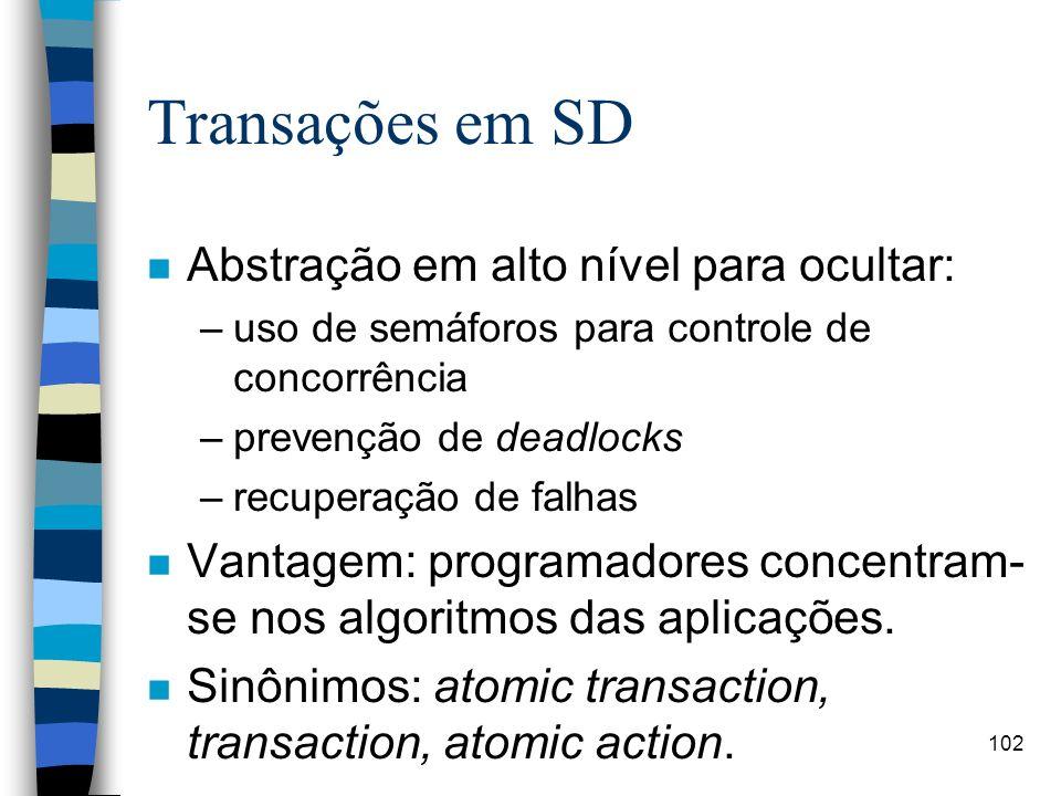 102 Transações em SD n Abstração em alto nível para ocultar: –uso de semáforos para controle de concorrência –prevenção de deadlocks –recuperação de f