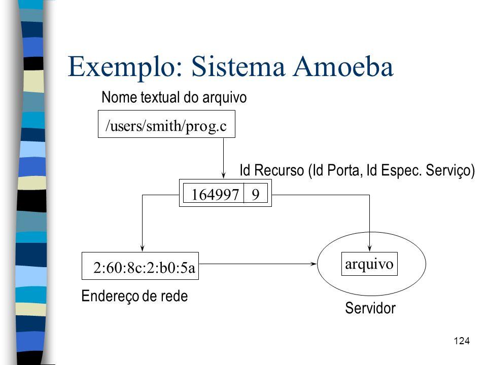 124 Exemplo: Sistema Amoeba /users/smith/prog.c Nome textual do arquivo 164997 9 2:60:8c:2:b0:5a arquivo Id Recurso (Id Porta, Id Espec. Serviço) Ende