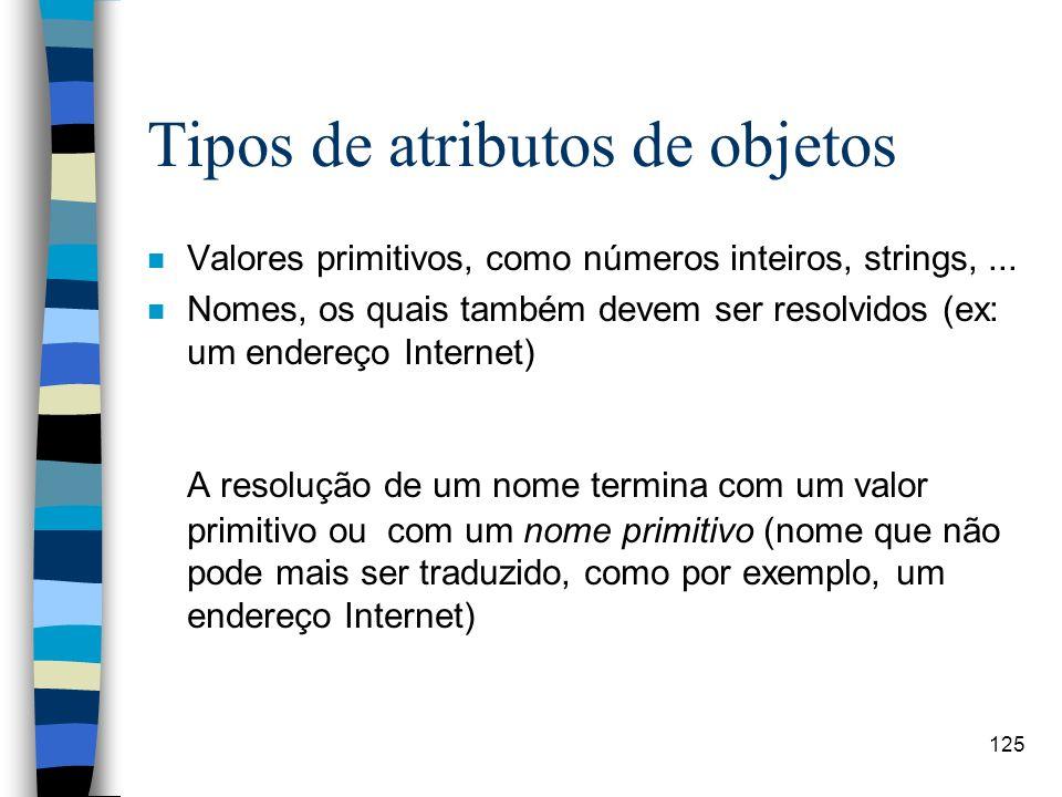 125 Tipos de atributos de objetos n Valores primitivos, como números inteiros, strings,... n Nomes, os quais também devem ser resolvidos (ex: um ender
