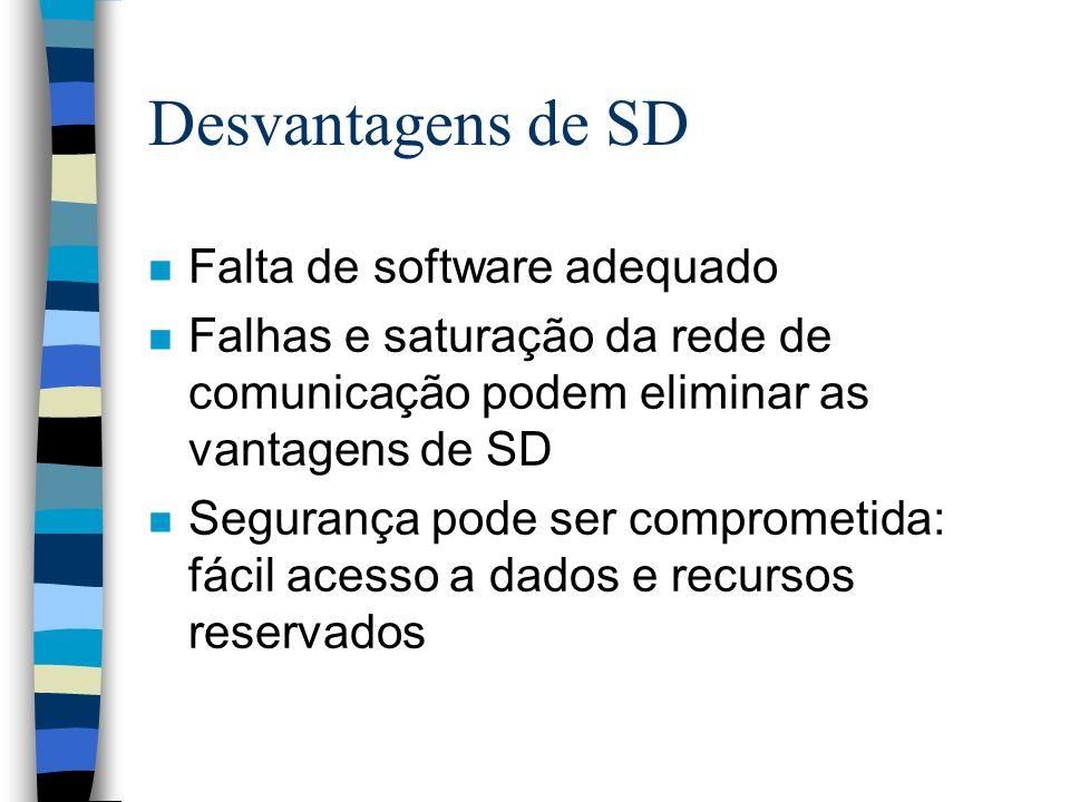 Desvantagens de SD n Falta de software adequado n Falhas e saturação da rede de comunicação podem eliminar as vantagens de SD n Segurança pode ser com