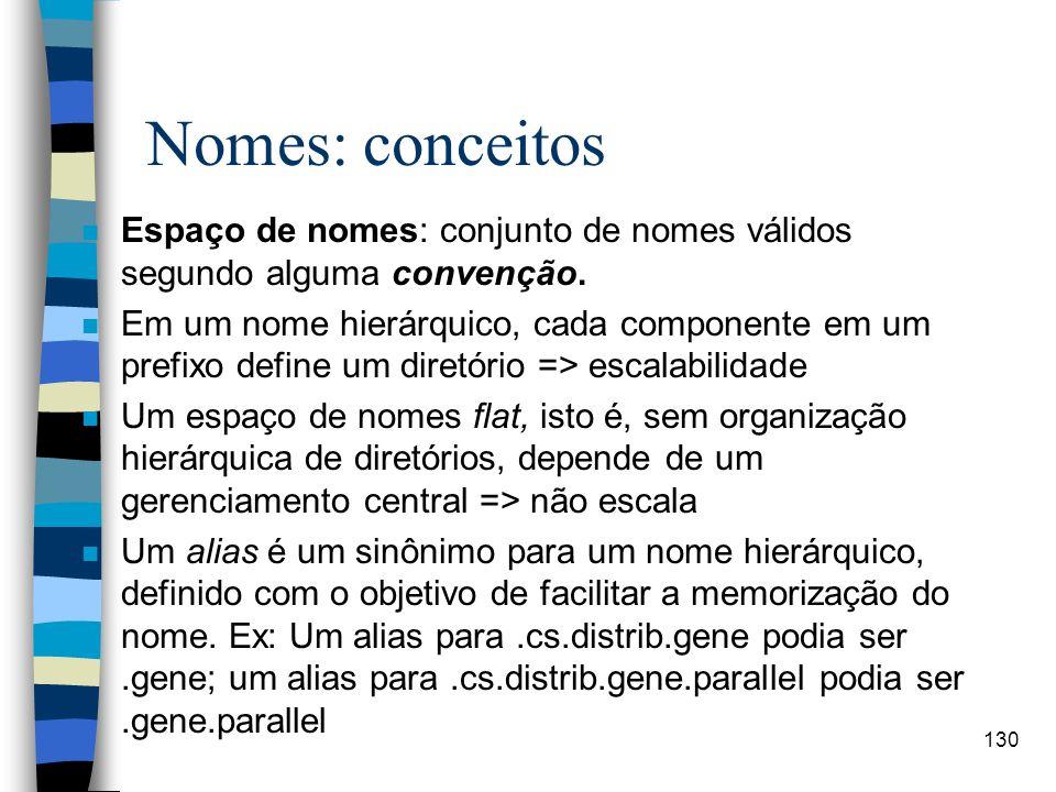 130 Nomes: conceitos n Espaço de nomes: conjunto de nomes válidos segundo alguma convenção. n Em um nome hierárquico, cada componente em um prefixo de