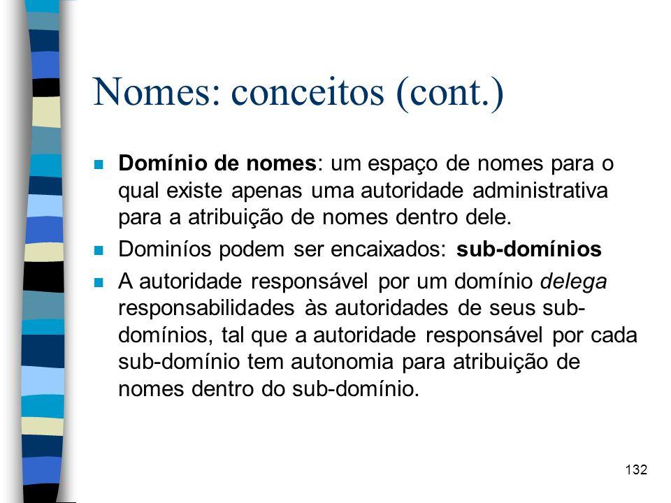 132 Nomes: conceitos (cont.) n Domínio de nomes: um espaço de nomes para o qual existe apenas uma autoridade administrativa para a atribuição de nomes
