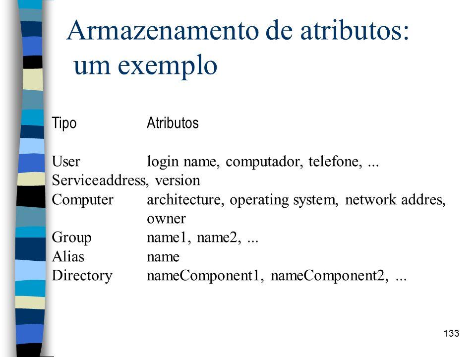 133 Armazenamento de atributos: um exemplo TipoAtributos Userlogin name, computador, telefone,... Serviceaddress, version Computerarchitecture, operat