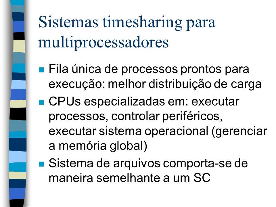 Sistemas timesharing para multiprocessadores n Fila única de processos prontos para execução: melhor distribuição de carga n CPUs especializadas em: e