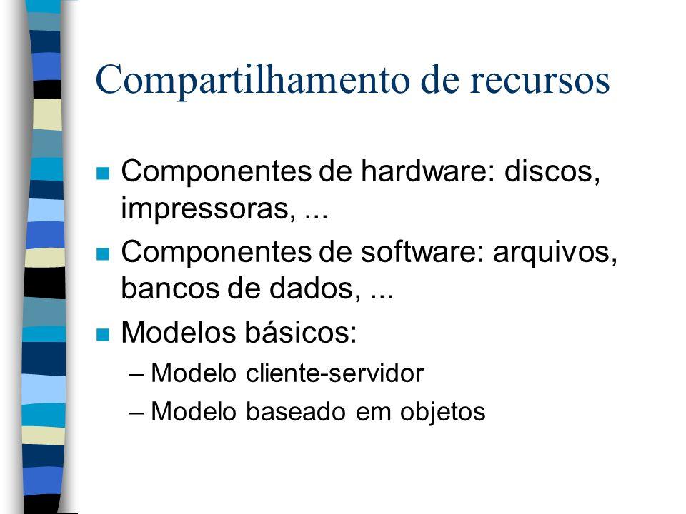 Compartilhamento de recursos n Componentes de hardware: discos, impressoras,... n Componentes de software: arquivos, bancos de dados,... n Modelos bás