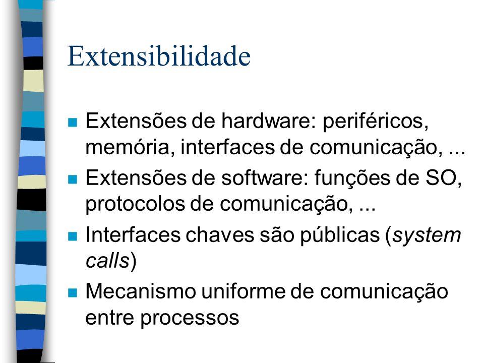 Extensibilidade n Extensões de hardware: periféricos, memória, interfaces de comunicação,... n Extensões de software: funções de SO, protocolos de com