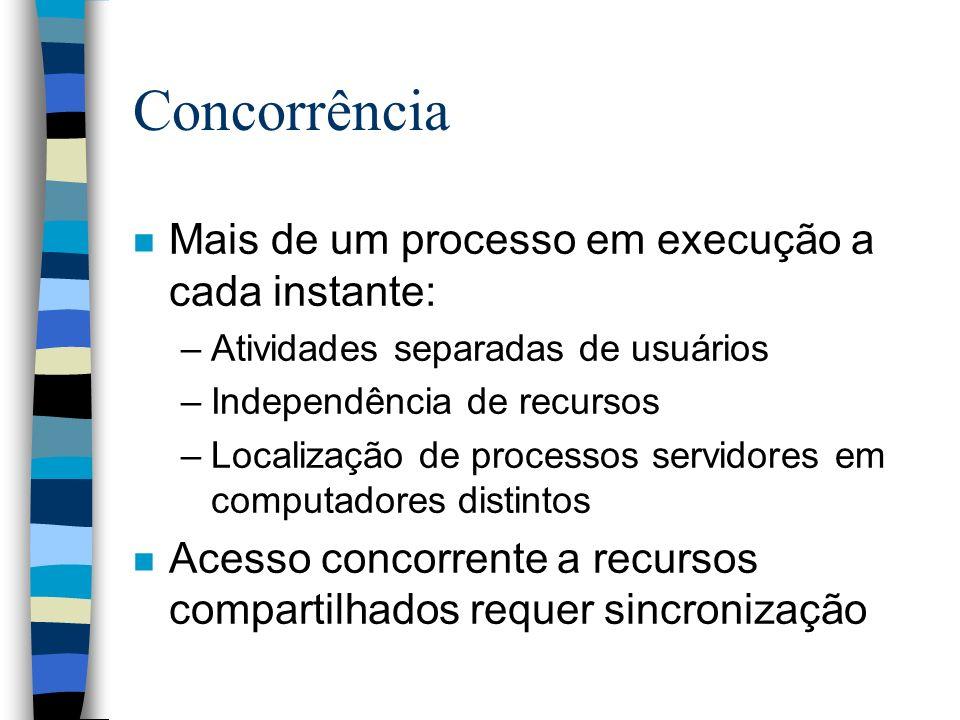 Concorrência n Mais de um processo em execução a cada instante: –Atividades separadas de usuários –Independência de recursos –Localização de processos