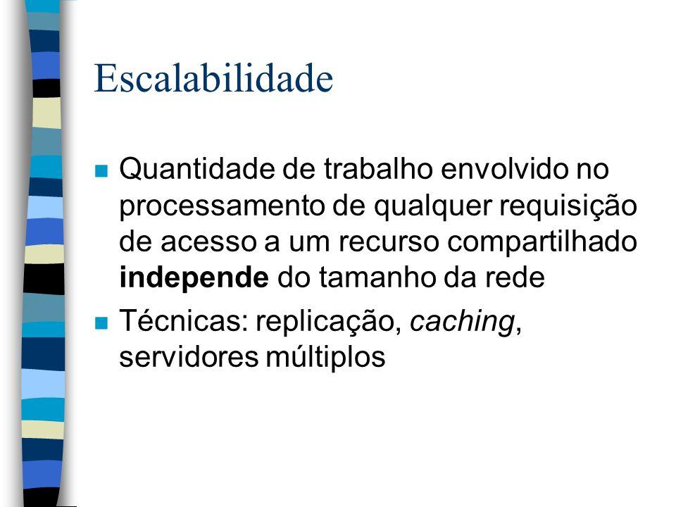 Escalabilidade n Quantidade de trabalho envolvido no processamento de qualquer requisição de acesso a um recurso compartilhado independe do tamanho da